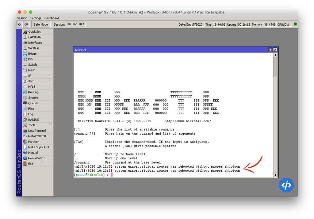 Mikrotik Log: system error critical