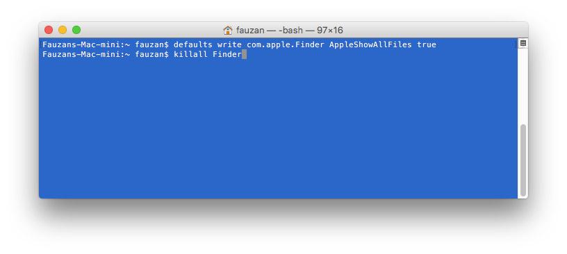 macOS show hidden file and folder